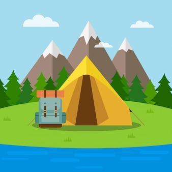 Fundo de natureza com tenda