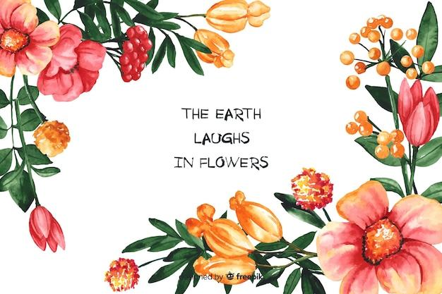 Fundo de natureza floral com citação