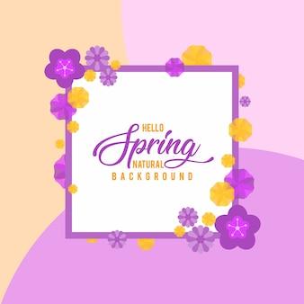 Fundo de natureza floral com flores amarelas, cor-de-rosa e roxas
