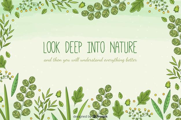 Fundo de natureza mão desenhada com citação