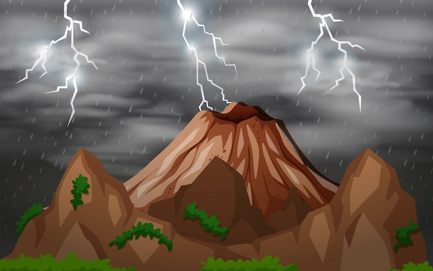Fundo de natureza tempestade à noite
