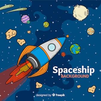 Fundo de nave espacial com planetas