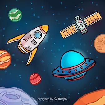 Fundo de nave espacial desenhada de mão