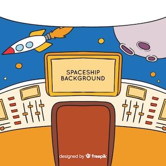 Fundo de nave espacial interior desenhada de mão Vetor grátis
