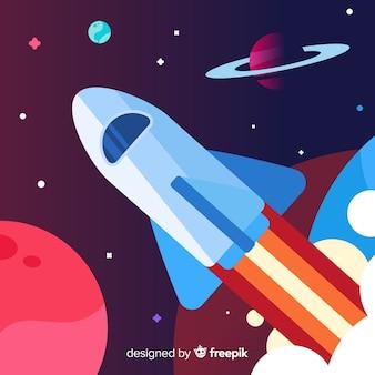 Fundo de nave espacial moderna com deisgn plana