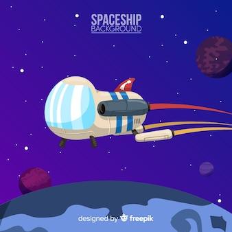Fundo de nave espacial moderna com design plano