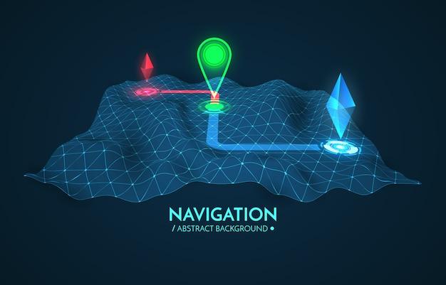 Fundo de navegação gps. mapa de estradas isolado no branco com ponteiro.
