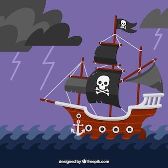 Fundo de navio pirata navegando em noite de tempestade