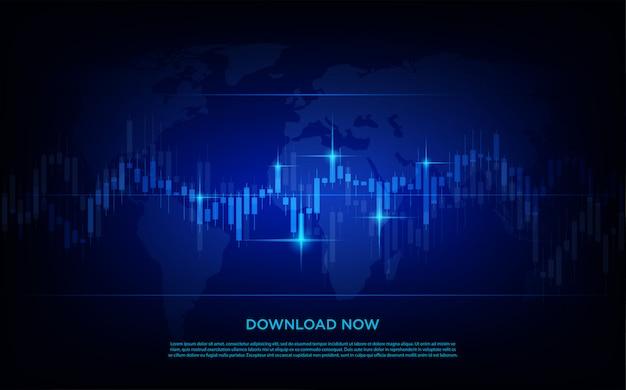 Fundo de negociação com gráficos de barras da negociação moderna e simples do mercado de ações.