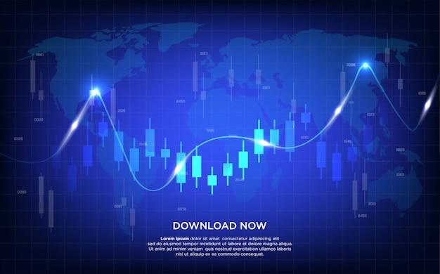 Fundo de negociação com ilustração do gráfico de barras e gráfico curvado sobre um fundo azul escuro.
