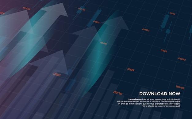 Fundo de negociação com ilustrações da negociação no mercado de ações digital que está em ascensão.
