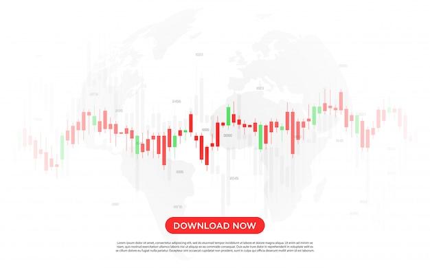 Fundo de negociação digital com um gráfico de barras vermelho e branco muito moderno