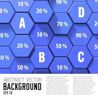 Fundo de negócios abstrato de cor azul e branco com letras e porcentagem plana