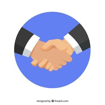 Fundo de negócios aperto de mão em estilo simples