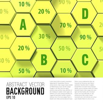 Fundo de negócios geométrico de favo de mel com números e porcentagem de hexágonos de luz 3d
