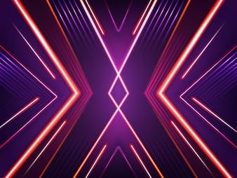 Fundo de néon abstrato. Teste padrão de brilho brilhante de lâmpadas vermelhas, roxas e cor-de-rosa do xénon.