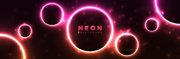 Fundo de néon banner brilhante abstrato com cricles de néon roxos.