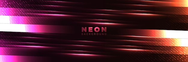 Fundo de néon banner brilhante abstrato com formas de néon roxo azul.
