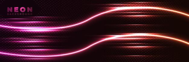Fundo de néon banner brilhante abstrato com linhas de néon roxas.