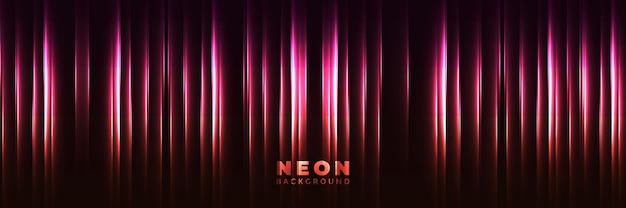 Fundo de néon banner brilhante abstrato com setas de néon roxo azul