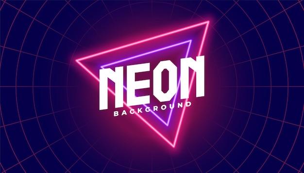 Fundo de néon com forma de triângulo vermelho e roxo