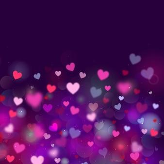 Fundo de néon dos namorados com corações