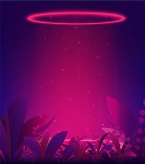 Fundo de néon portal brilhante brilho vermelho com folhas tropicais. teleporte-se com anéis e raios de luz de uma cena noturna e faíscas.