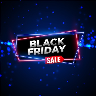 Fundo de néon preto venda sexta-feira com partículas brilhantes