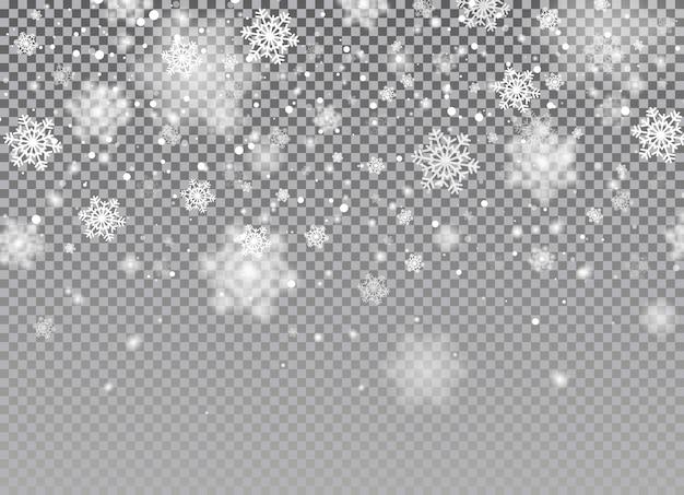 Fundo de neve caindo. flocos de neve com purpurina branca caindo em fundo transparente