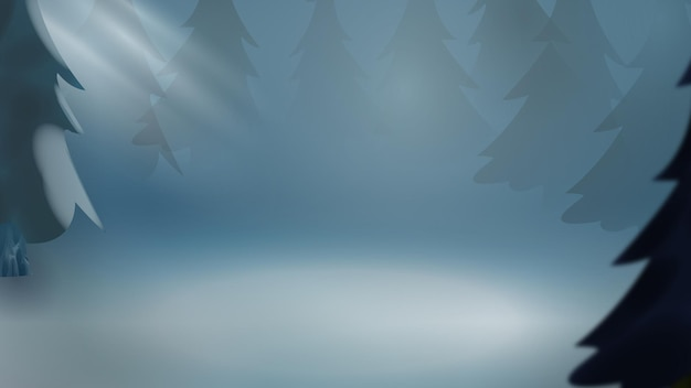 Fundo de neve de inverno com montanhas e árvores