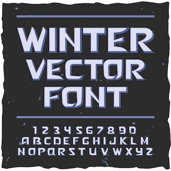 Fundo de neve de inverno com rótulo de texto editável de tipo de letra com ilustração de letras e dígitos