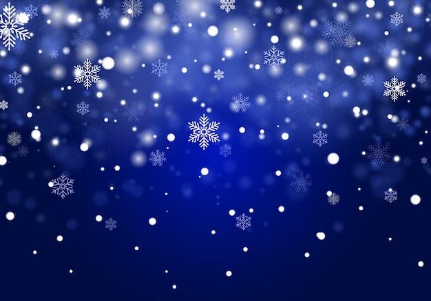 Fundo de neve de natal caindo, flocos de neve sobre fundo azul.