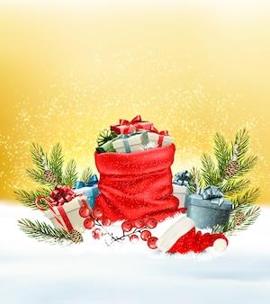 Fundo de neve de natal com um saco vermelho com caixas de presente