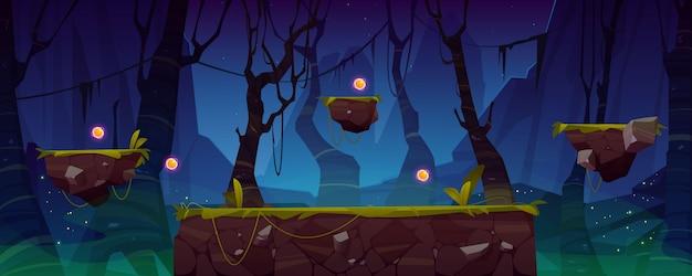 Fundo de nível de jogo com plataformas e itens