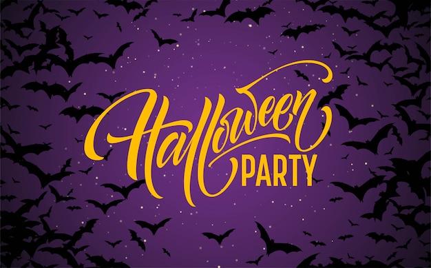 Fundo de noite brilhante de halloween com morcegos. caligrafia, letras.