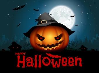 Fundo de noite de abóbora de Halloween