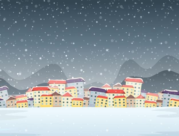 Fundo de noite de cidade de inverno