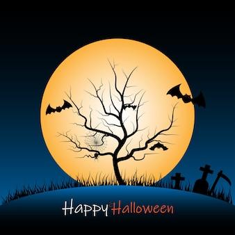 Fundo de noite de halloween com carcaça de árvore e lua cheia