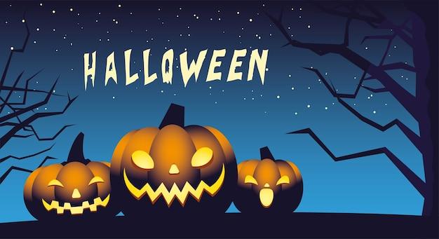 Fundo de noite de halloween com desenho de ilustração de abóboras