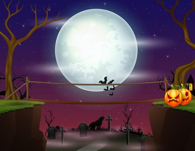 Fundo de noite de halloween com uma ponte sobre o túmulo