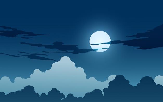 Fundo de noite de luar com nuvens