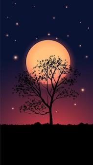 Fundo de noite estrelada com árvore e lua cheia