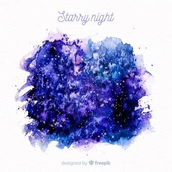 Fundo de noite estrelada em aquarela