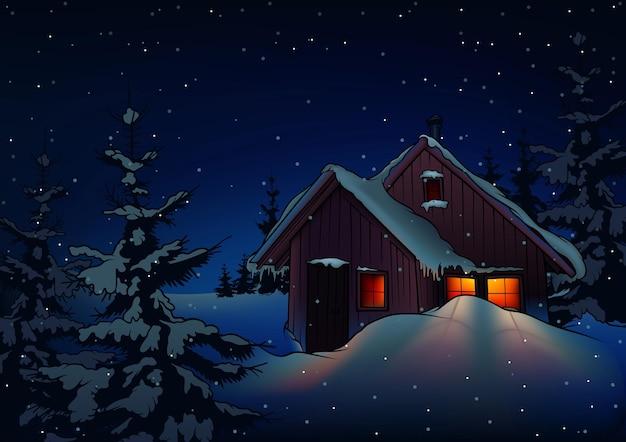 Fundo de noite invernal com casa de campo com neve e queda de neve
