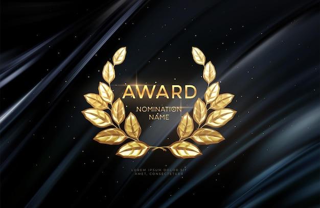 Fundo de nomeações do prêmio do vencedor da coroa de louros de ouro 3d realista. fundo do conceito de prêmio. ilustração vetorial