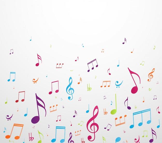 Fundo de notas de música colorida