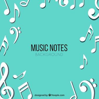 Fundo de notas musicais brancas