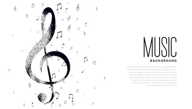 Fundo de notas musicais com espaço de texto