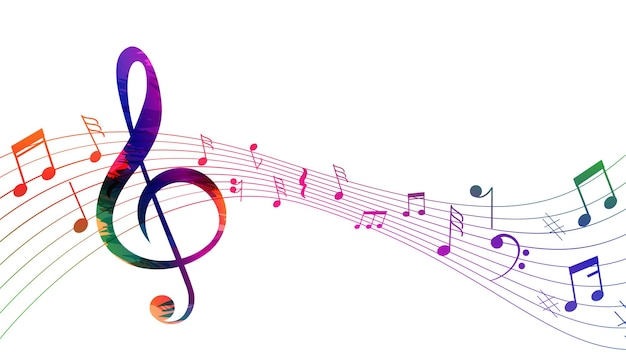 Fundo de notas musicais de ondas sonoras de pentagrama