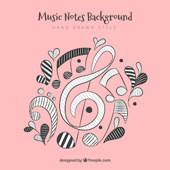 Fundo de notas musicais desenhadas à mão